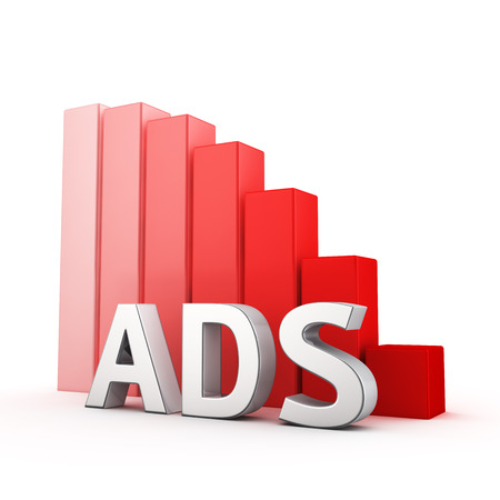 regress: Moving down red bar graph of Ads on white. Advertising decrease concept.