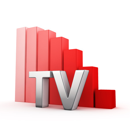 regress: Moving down red bar graph of TV on white. Television decrease concept. Stock Photo