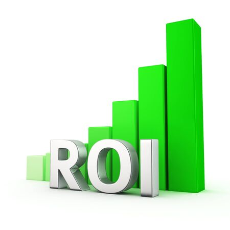 Growing green bar graph of ROI on white. Income growth concept. Stock Photo