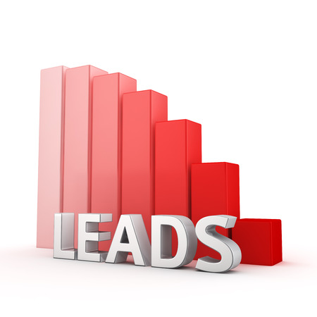 moving down: Moving down red bar graph of Leads on white. Sales decrease concept.
