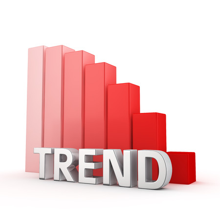 moving down: Moving down red bar graph of Trend on white. Popularity decrease concept. Stock Photo