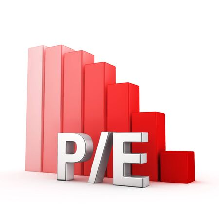 attractiveness: Moving down red bar graph of PE on white. Investment attractiveness concept. Stock Photo