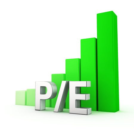 Growing green bar graph of PE on white. Investment attractiveness concept.