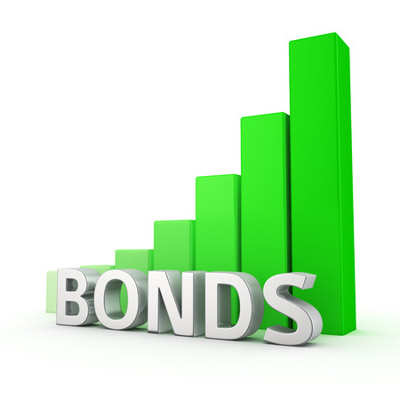 bonds: Growing green bar graph of Bonds on white. Rates growth concept.