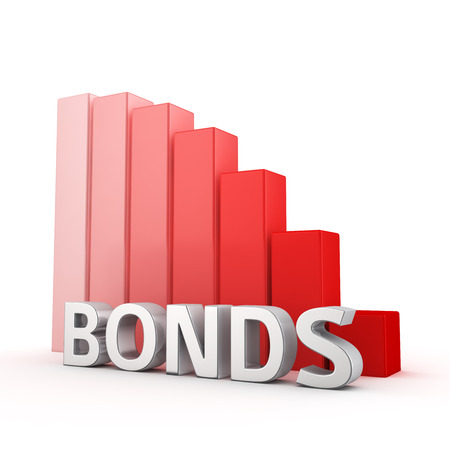 moving down: Moving down red bar graph of Bonds on white. Rates decrease concept.