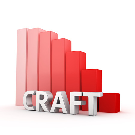 moving down: Moving down red bar graph of Craft on white Stock Photo