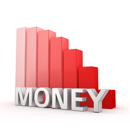 moving down: Moving down red bar graph of Money on white. Monetary contraction concept.