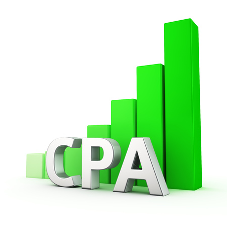 cpa: Growing green bar graph of CPA on white. Affiliate marketing growth concept. Stock Photo