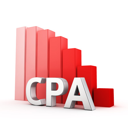 cpa: Moving down red bar graph of CPA on white. Affiliate marketing decrease concept.
