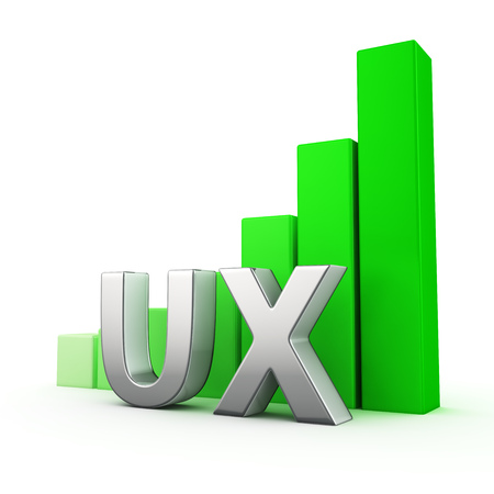 Growing green bar graph of UX on white. User expirience growth concept. Stock Photo