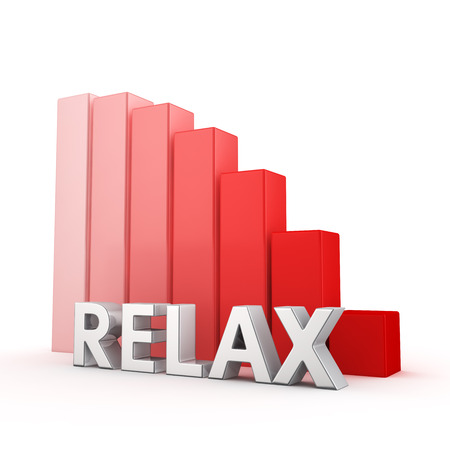 moving down: Moving down red bar graph of Relax on white Stock Photo