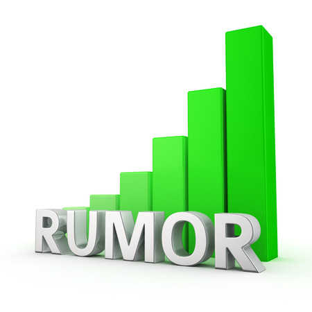 bruit: Growing green bar graph of Rumor on white Stock Photo