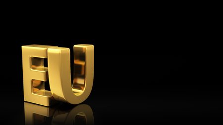 european economic community: Gold EU acronym on black background with reflection and copyspace. Good for slide with text
