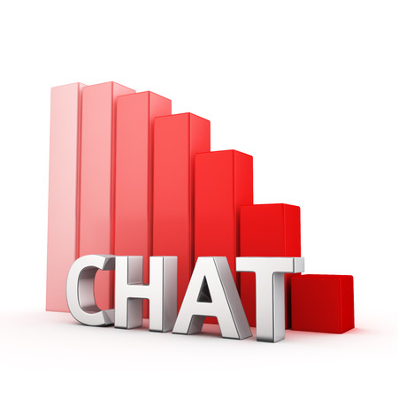 moving down: Moving down red bar graph of Chat on white Stock Photo