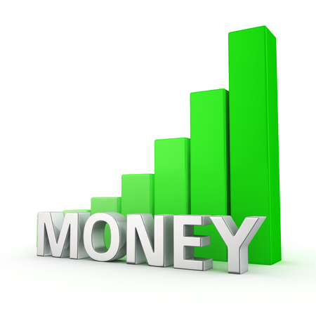 height chart: Growing green bar graph of Money on white. Monetary expansion concept.