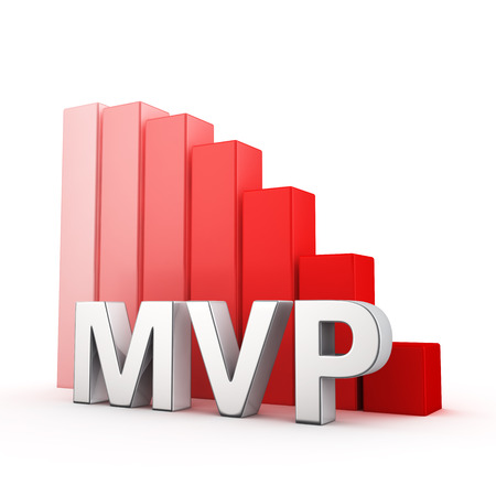 regress: Moving down red bar graph of MVP on white Stock Photo
