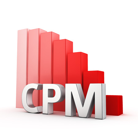 moving down: Moving down red bar graph of CPM on white. Cost per impressions decrease concept. Stock Photo