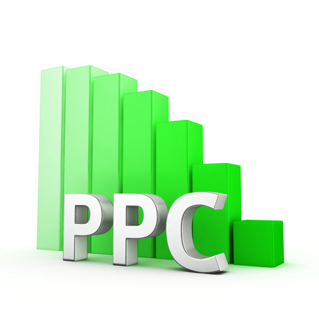 moving down: Moving down red bar graph of PPC on white. Click bid cost decrease concept.