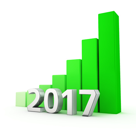 year increase: Growing green bar graph of 2017 on white. Good year concept.