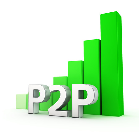 p2p: Growing green bar graph of P2P on white Stock Photo