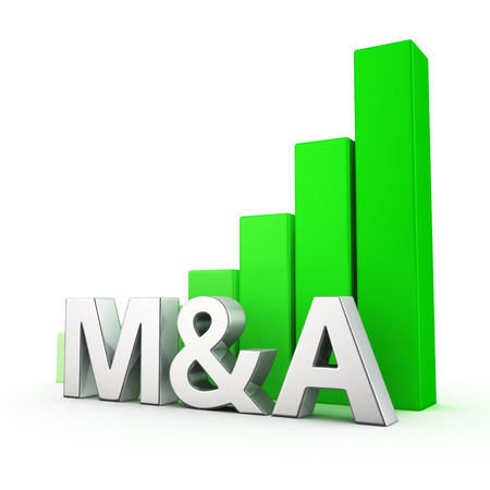 acquisitions: Growing green bar graph of M&A on white. Improved economic performance concept.