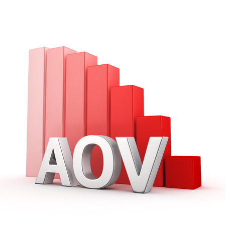 regress: Moving down red bar graph of AOV white. average order value decrease concept. Stock Photo