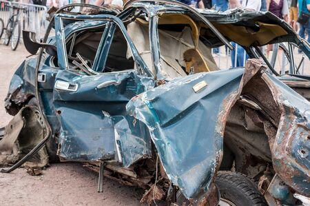 destructive: Car scrap after destructive performance on the technical festival