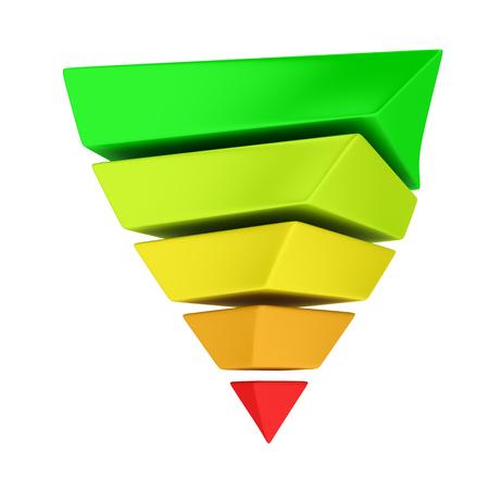 teorema: Multicolor invierte la pir�mide en capas en el fondo blanco. Se puede utilizar de dos maneras: para demostrar el concepto de la eficiencia energ�tica o jerarqu�a de necesidades de Maslow