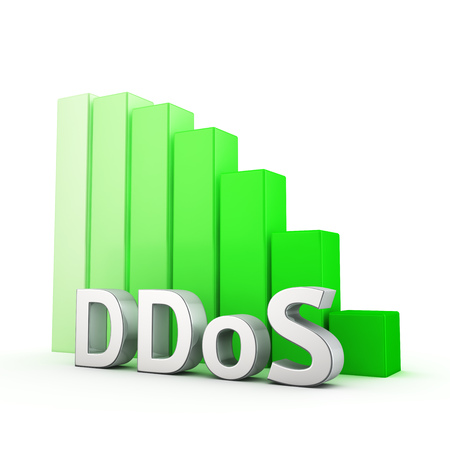 paralyze: Moving down green bar graph of DDoS on white. Success reduction concept.