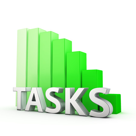 prioritization: Moving down green bar graph of Tasks on white. Tasks tension reduction concept. Stock Photo