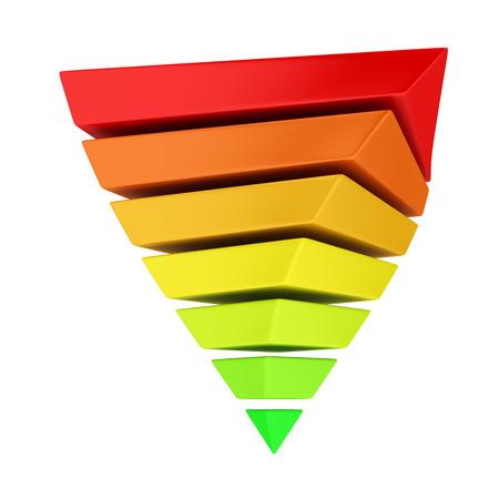 teorema: Multicolor invierte la pirámide en capas en el fondo blanco. Se puede utilizar de dos maneras: para demostrar el concepto de la eficiencia energética o jerarquía de necesidades de Maslow