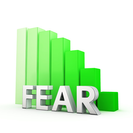 moving down: Moving down green bar graph of Fear on white. Fears reduction concept.