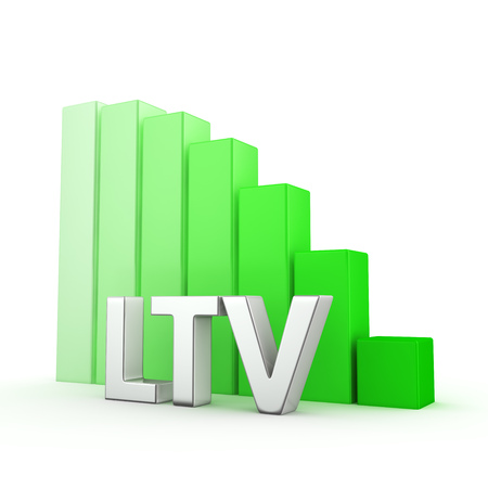 moving down: Moving down green bar graph of LTV on white. Success reduction concept. Stock Photo