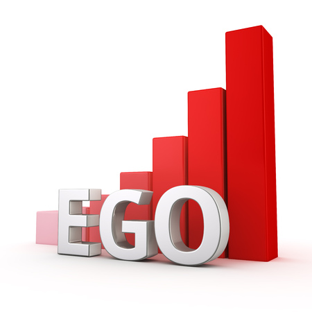 ego: Growing red bar graph of Ego on white. More ego more problem Stock Photo