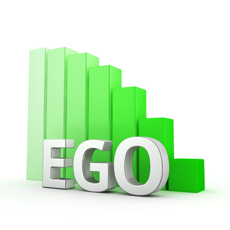 pretentious: Moving down green bar graph of Ego on white. Less ego more empathy