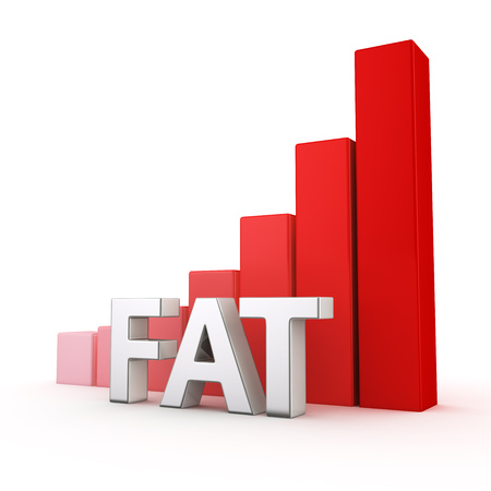 upturn: Growing red bar graph of Fat on white Stock Photo