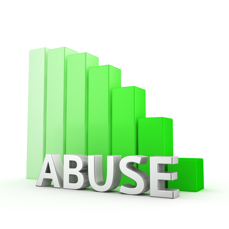 misuse: Moving down green bar graph of Abuse on white Stock Photo