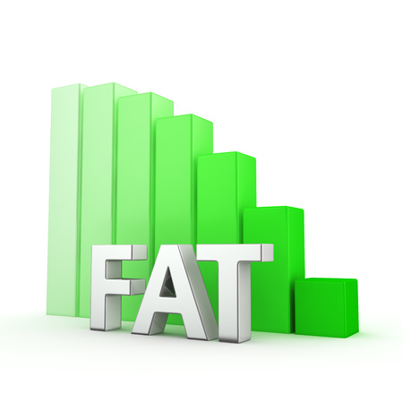 portly: Moving down green bar graph of Fat on white Stock Photo