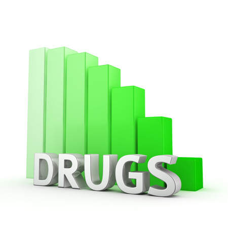 moving down: Moving down green bar graph of Drugs on white. Reducing drugs use.