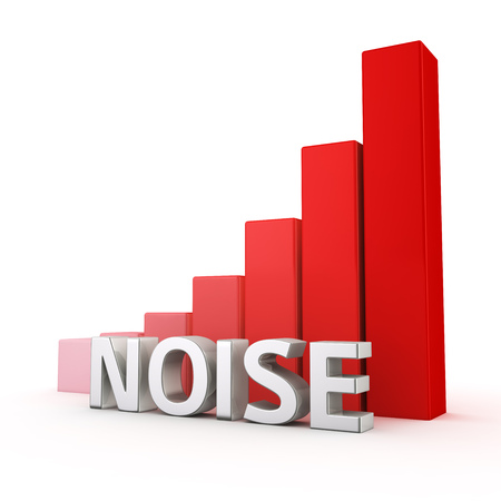 noise: Growing red bar graph of Noise on white. Noise pollution growing concept.