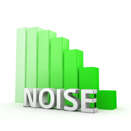 moving down: Moving down green bar graph of Noise on white. Success noise pollution reducing concept. Stock Photo