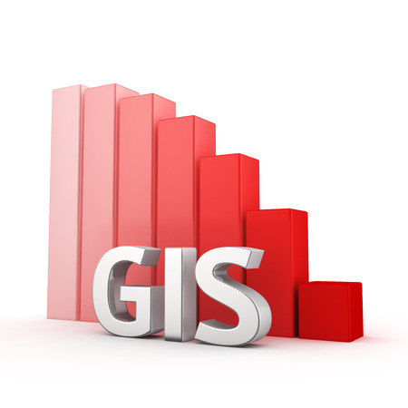 integrates: The decrease in the activity of using GIS systems. The acronym GIS against going down red chart. 3D illustration for a report and presentation