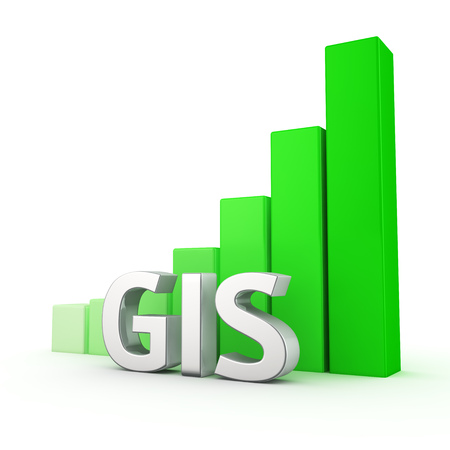 integrates: The growth of active usage of GIS systems. The increase in geo-location data. The acronym GIS against going up green chart. 3D illustration for a report and presentation