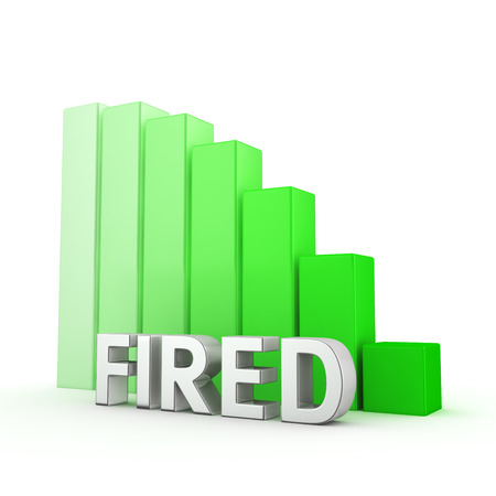 layoffs: Moving down green bar graph of Fired on white. Reducing unemployment and layoffs concept Stock Photo