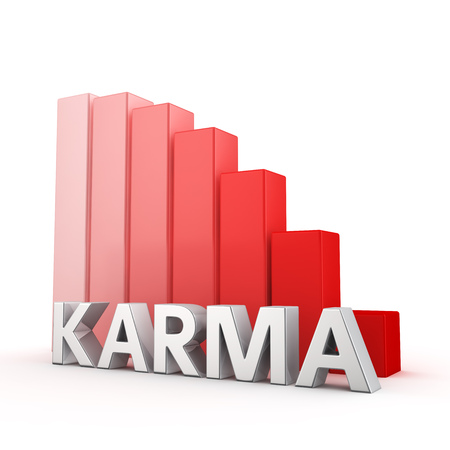 regress: Moving down red bar graph of Karma on white