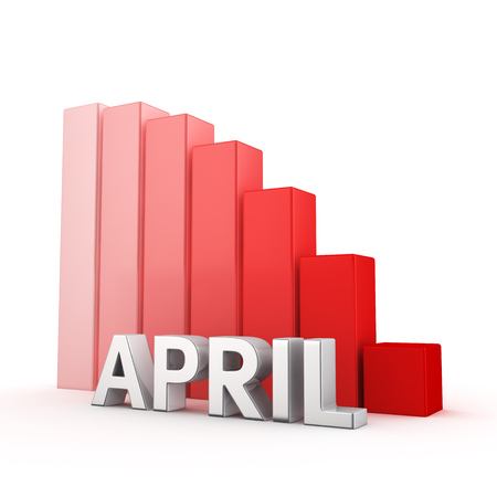 moving down: Moving down red bar graph of April on white. Monthly plans decrease concept. Stock Photo