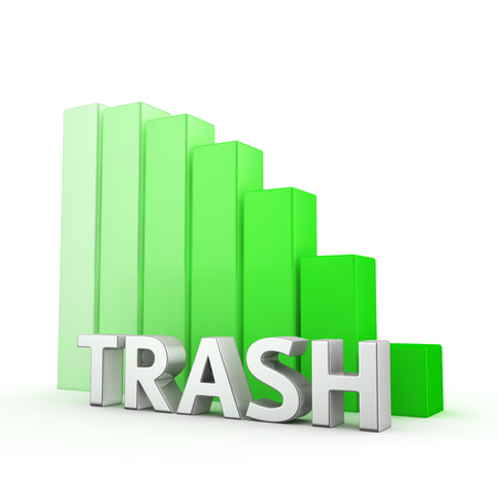 regress: Reducing the amount of garbage. Ecological concept. The word Trash against falling down green chart. 3D illustration image about saving our planet