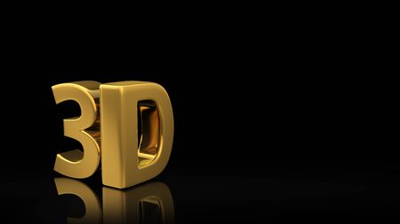 3D illustration image of 3D letters. Gold symbols 3D on a black background with copyspace for text
