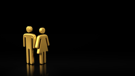 black family: A family of two people, a couple. The concept of a small family. Common interests of men and women. Gold symbols of man and woman on a black background with copyspace for text. 3D illustration image Stock Photo