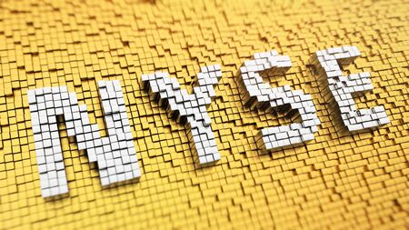 nyse: NYSE header picture. Events on the New York Stock Exchange. Pixelated acronym NYSE made from matrix mosaic cubes. 3D illustration image Stock Photo